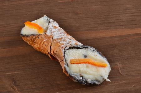 Dessert: Cannolo Siciliano .In a italian restaurant.