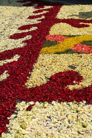 During the eve of the religious feast of Corpus Christi, including the night, the streets are depposti the path of the Blessed Sacrament, a carpet of flower petals, creating artistic representations only. And the solemn procession will pass, destroying th