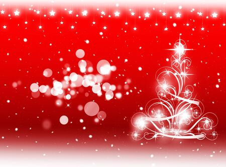 winter tree: Red Christmas tree background winter card Stock Photo