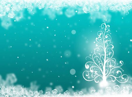 christmas star background: Blue Christmas tree background. winter card Stock Photo