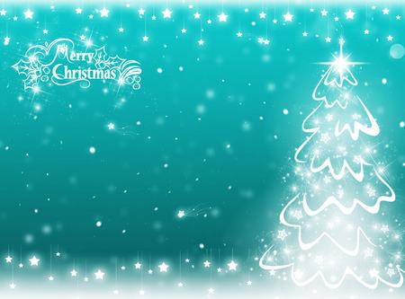 winter tree: blue Christmas tree background. Winter card