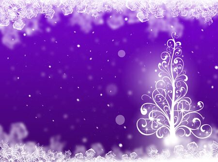 winter tree: purple Christmas tree background. Winter card Stock Photo