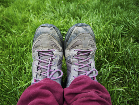 old shoes: old shoes, grass