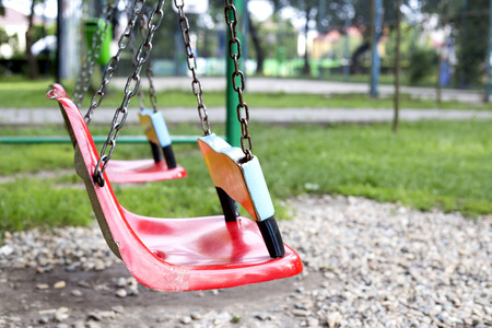swing set: Children swing set on the playground