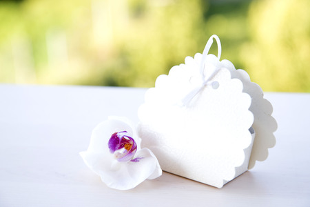 unmarked: Wedding cake box with white orchid