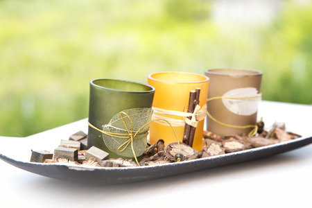 heal new year: pot pourri candle holder, autumn wicca home decoration Stock Photo