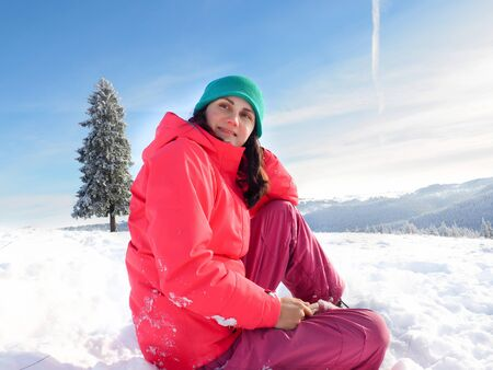winter woman: happy young winter woman