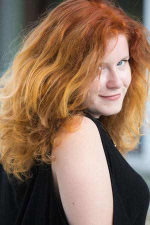 Redhead girl, autumn model Stock Photo