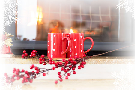 winter tea cups in front of fireplace