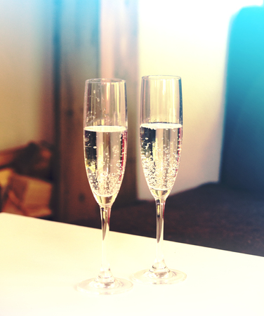 Champagne glasses. Happy New Year background