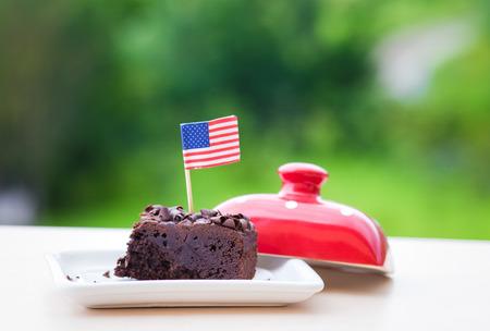Brownie with USA flag Stock Photo