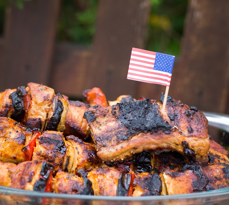 4th of july barbecue meat skewers Stock Photo