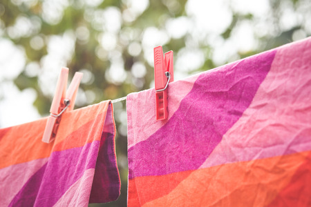 hanging laundry out to dry Stock Photo
