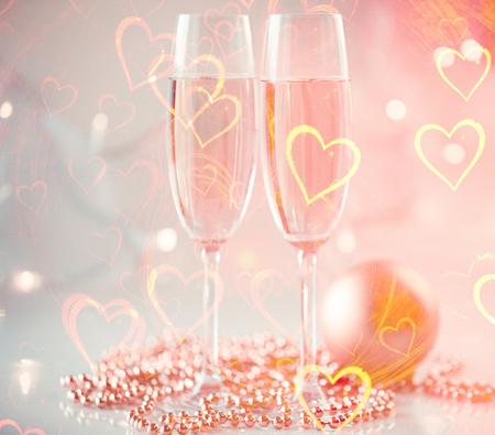 Champagne glasses St. Valentine background