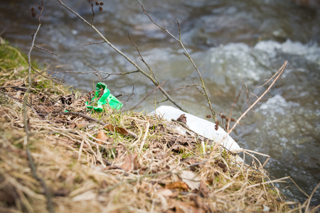 River plastic pollution, plastic waste in water Reklamní fotografie