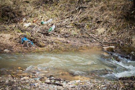 River plastic pollution, plastic waste in water