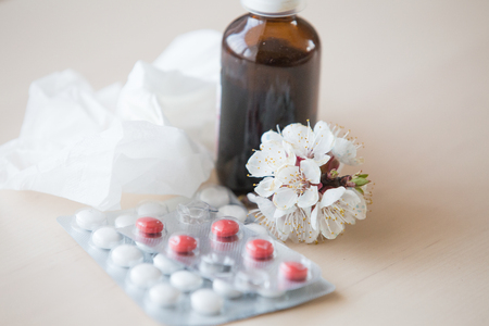 Spring allergies treatment background