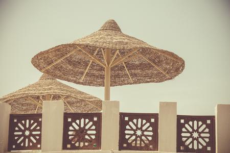 Beach umbrella relaxing summer vacation