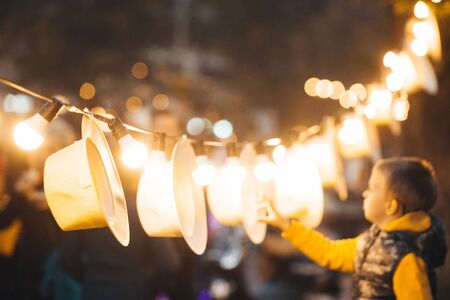 Garden lights on a string