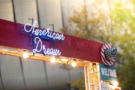 American Dream neon lights letters