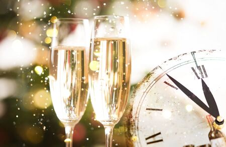 Happy new year champagne glasses background Banco de Imagens