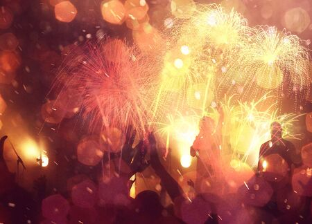 Happy New Year abstract fireworks background Archivio Fotografico - 136486328