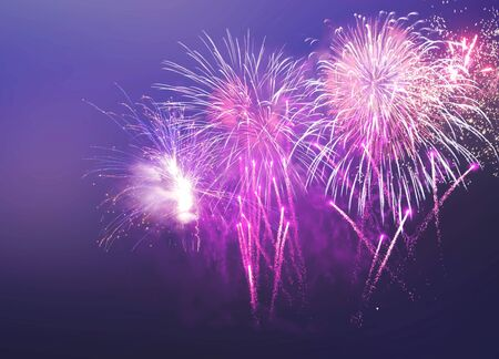 Happy New Year abstract fireworks background Archivio Fotografico - 136486348