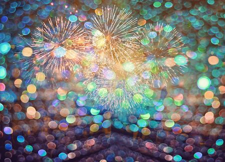 Happy New Year abstract fireworks background