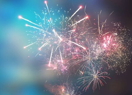 Happy New Year abstract fireworks background Archivio Fotografico - 136486365