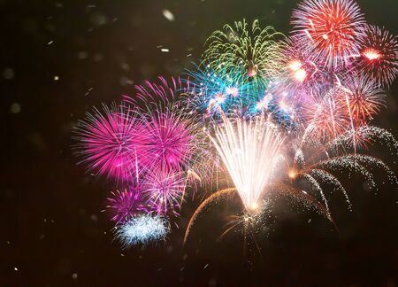 Happy New Year abstract fireworks background Archivio Fotografico - 136486392