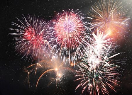 Happy New Year abstract fireworks background Archivio Fotografico - 136486383