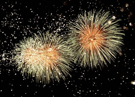 Happy New Year abstract fireworks background Archivio Fotografico - 136486349