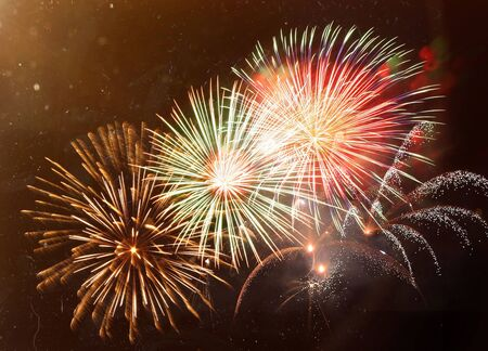 Happy New Year abstract fireworks background Archivio Fotografico - 136486360