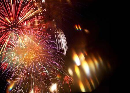 Fondo astratto dei fuochi d'artificio del nuovo anno Archivio Fotografico