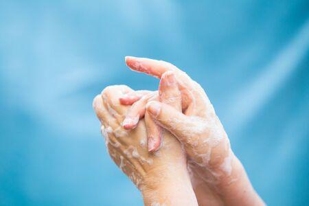Coronavirus global pandemic hand washing prevention Stockfoto