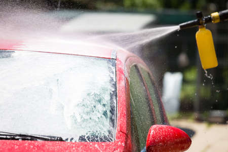 Washing the car in self service system