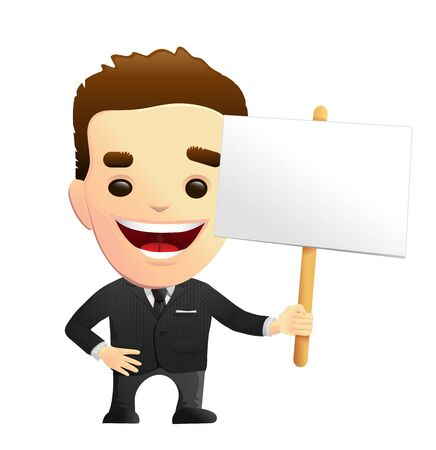 clerks: Smiling Businessman Character In A Black Suit Holding A Sign Illustration