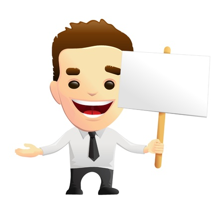 open shirt: Smiling Businessman Character Holding A Sign