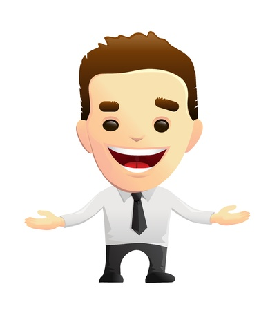 open shirt: Smiling Businessman Character With Open Arms Illustration
