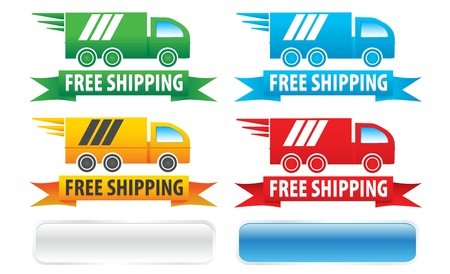 shipping: Free Shipping Trucks Ribbons and Buttons Illustration