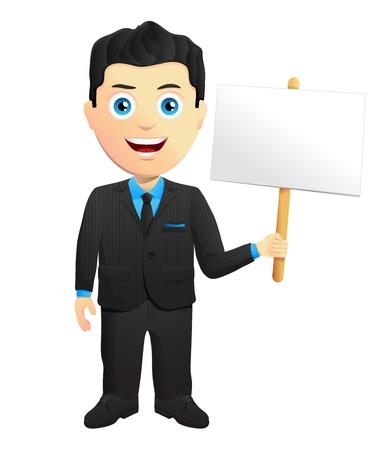 placard: Smiling Businessman Holding A Sign Illustration