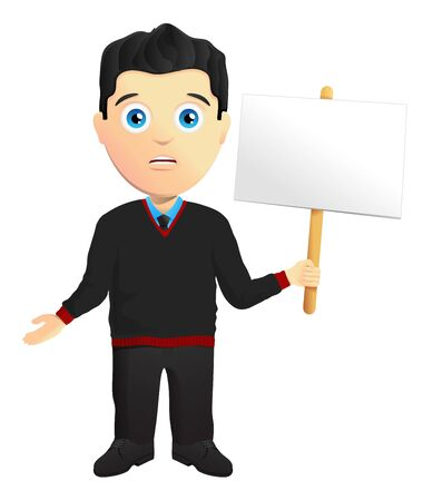 apologetic: Man In A Pullover Holding A Sign