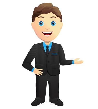 businessman suit: Smiling Businessman Hand Gesture