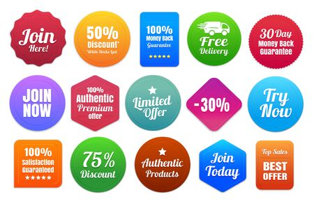satisfaction: 15 Colorful Ecommerce Badges Illustration