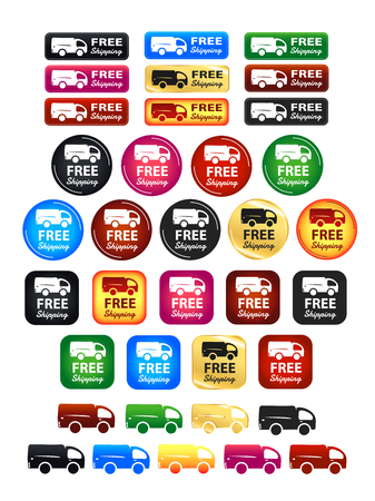 safely: Free Shipping Badges Set Illustration