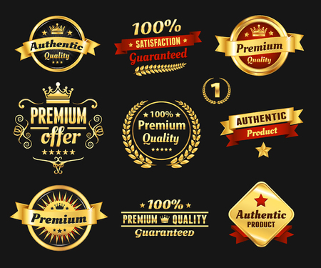 High Quality Golden Badges Vectores