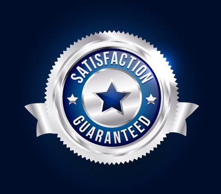 Silver Satisfaction Guaranteed Badge Ilustrace