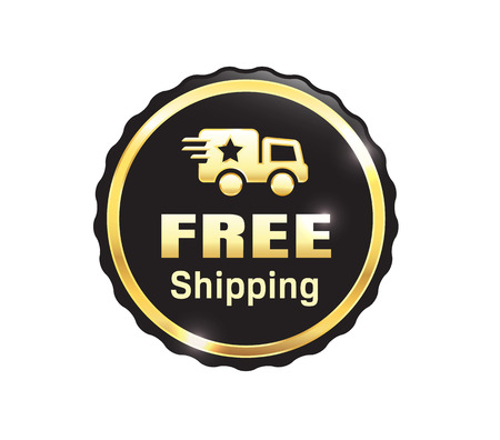 Golden Free Shipping Badge  イラスト・ベクター素材