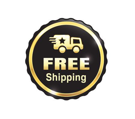 Golden Free Shipping Badge Illustration