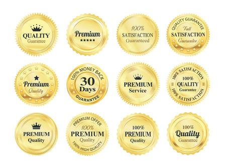 Badges garanzia Golden qualità Archivio Fotografico - 45510087